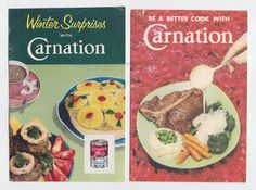 Pair of Carnation Vintage Cookbooks Booklets w/ by PaperAeroplanes