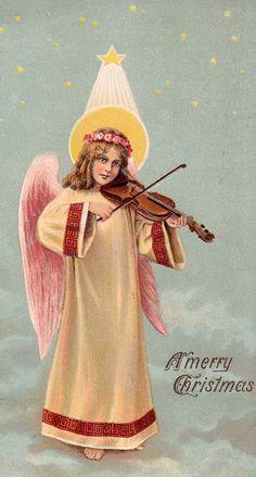 angel playing violin.