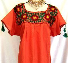 fa54fa651c54e EMBROIDERED Huipil Mexico Hippie Boho Orange BLOUSE Peasant Frida Red  flowers embroidered Size L XL