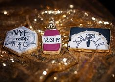 Personalized cookies match the rich jewel tones, metallics, and marble texture that can be spotted throughout the wedding. Plus, they look delicious!  | The Villa at Cielo Vista San Antonio, TX