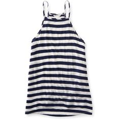 Aeropostale Striped High-Neck Tank ($11) ❤ liked on Polyvore featuring tops, navy dream, striped tank top, navy tank top, beach tanks, white top and navy blue tank
