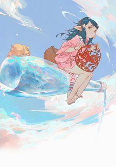 #GHOST LOVE the world - 俊西JUNC의 일러스트 - pixiv Japanese Cartoon, Japanese Art, Pretty Art, Cute Art, Anime Ghost, Arte Peculiar, Sky Anime, Knight Art, Anime Artwork