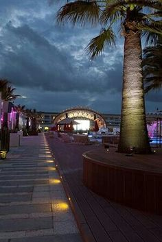 Ushuaia Beach Hotel at night, Playa D'en Bossa, Ibiza, Spain