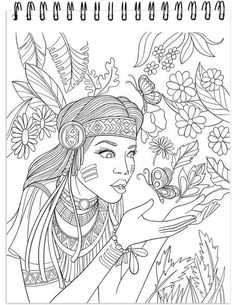 The Native American Spirit Illustrated By Terbit Basuki People Coloring Pages, Blank Coloring Pages, Coloring Pages For Grown Ups, Adult Coloring Book Pages, Printable Adult Coloring Pages, Coloring Books, American Indian Art, Native American, American Spirit