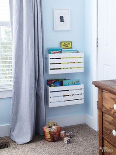 Hung within kids' reach, these white-painted crates ensure that tykes can readily access and return the crates' contents. Neatness doesn't count; books slip in easily with no stacking or shelving required. Remember to screw crates and shelves into studs to ensure storage units stay securely attached to the wall.