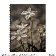 Sepia Dreams wildflower spiral notebook