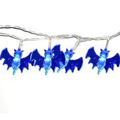 INST Set of 20 Blue Bat Halloween Decoration Lights, 6.5ft LED Fairy String Lights 6.5