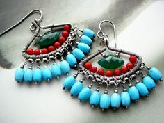 The green lotus chandelier earrings -  sterling silver, chalcedony, coral, turquoise gemstones