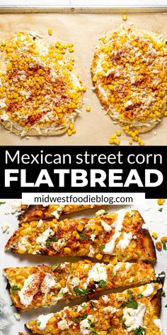 Easy Mexican Street Corn Flatbread,This Mexican Street Corn Flatbread takes all your favorite flavors of Elote Corn and combines them in a handheld flatbread pizza appetizer! Mexican Dishes, Mexican Food Recipes, Vegetarian Recipes, Dinner Recipes, Cooking Recipes, Healthy Recipes, Flatbread Pizza, Flatbread Recipes, Enchiladas