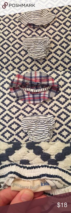 Pottery Barn Kids Diaper Cover and Matching Hat Nautical Pottery Barn Kids Striped diaper cover and matching hat. Perfect for a beach day. Hat is reversible with red, white and blue plaid pattern on the opposite side. I can't find the size tag, but I believe it's 6-12 months. Fit my daughter well at 10 months and she had chunky legs! So adorable for a boy or girl. Excellent condition. Smoke and pet free home. Pottery Barn Kids Accessories Diaper Covers