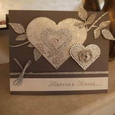 Wedding Card, Stampin Up, I Love Lace, Glimmer Paper
