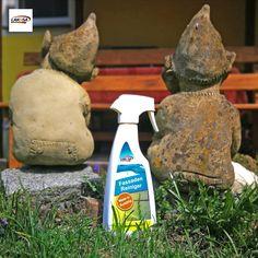 """Verfärbte und verwitterte Steinfiguren im Garten wieder sauber bekommen?  Irgendwann kommt der Punkt, an dem man an die Ausrede """"natürliche Patina mit Charme"""" selber nicht mehr glaubt. Höchste Zeit also, die Gartendeko, Mauern, Steine etc. wieder auf Vordermann zu bringen.   #gartenliebe #gartendeko #gartenideen #gartentipps #gartentricks #gartenhacks #gartenfiguren #steinfiguren #gussfiguren #lakosa #lakosaAUT #lakosawagrain #lakosadieweltderreiniger"""