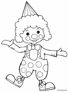 easy clown coloring pages einfache Clown Malvorlagen Unique Coloring Pages, Coloring Pages To Print, Coloring Book Pages, Coloring Pages For Kids, Adult Coloring, Coloring Pictures For Kids, Painting For Kids, Drawing For Kids, Clowns For Kids