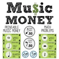 Linking music to Maths: Printable money with notes and rests, along with math connection worksheets! Music Math, Music Classroom, Music Teachers, Music Lesson Plans, Music Lessons, Music Theory Games, Music Games, Piano Games, Music Worksheets