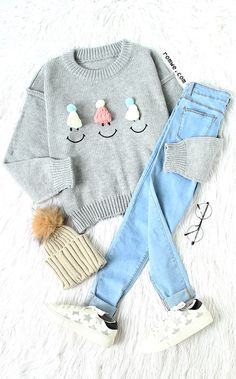 Cute Style - Grey Hat Embellished Drop Shoulder Cute Sweater with blue denim, star sneakers and adorable knit hat from romwe.com