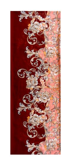infinite double scarf silk chiffon women's fashion accessories, exotic oriental pattern peach color with burgundy edge.   $17,50 USD
