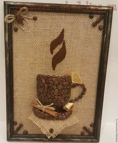 We make a coffee panel of MK: Sweet gifts. Coffee Bean Art, Decoration Vitrine, Diy And Crafts, Arts And Crafts, Diy Y Manualidades, Coffee Bar Home, Coffee Heart, Coffee Crafts, Paper Crafts Origami