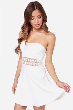 Vagary 2016 Simple Hot Sexy Party Club Strapless Clothing New Arrival  Women s White Sleeveless Backless Crochet Lace Mini Dress 9d1187823