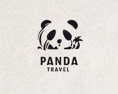 Panda travel - Logo Design - Logomark, Logotype, Panda, Bear, Negative Space, Palm Trees, Mountains, Island, Balloon, Clever, Black & White