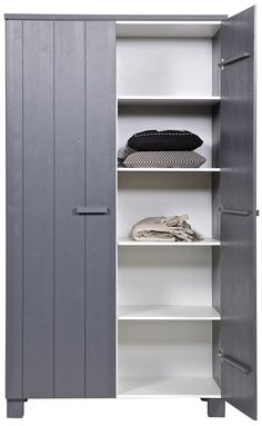 Dennis Wardrobe in Steel Grey by Woood