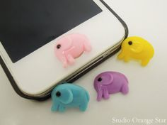 1PC Resin Cute Animal Elephant iPhone Home Button Sticker for iPhone 5, 4, 4s, 4g, Cell Phone Charm, Kids Gift on Etsy, $0.99