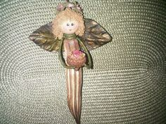 """My """"Okra Angel"""" designed and crafted by Susan Driggers! Christmas Pasta, Christmas Ornament Crafts, Angel Ornaments, Christmas Holidays, Christmas Ideas, Christmas Decorations, Okra Crafts, Fun Crafts, Graduation Crafts"""