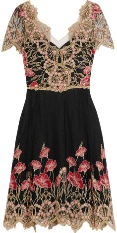 Marchesa Notte - Floral-embroidered Tulle Mini Dress - Black