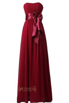 Slight Sweetheart Burgundy Floor Length Bridesmaid Dress With Removable Bowknot Gown For Wedding Am22