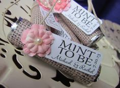 """Personalized """"mint to be"""" wedding favors. Mint wedding favor. Custom orders accepted. Burlap and pink."""