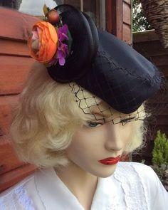 VINTAGE BLACK NET/VEIL FLOWER DETAIL PILLBOX TILT HAT 1940s 1950s RE-ENACTMENT    eBay
