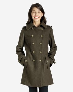 Rebecca Heritage Melton Wool Double-Breasted Military Coat