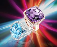 Beautiful Blue topaz and white gold ring and Amethyst with rose gold ring ~Novak Jewelers