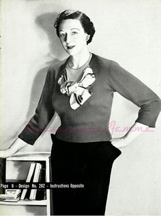 The Vintage Pattern Files - Free 1950's Knitting Pattern - Jumper in Crepe Wool