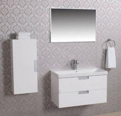 Badmeubel met keramische wastafel inclusief spiegel met aluminium rand
