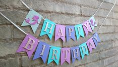 ♥ ♥ ♥ HAPPY BIRTHDAY ♥ ♥ ♥ Sure to catch everyones attention at any mermaid party or Under the sea themed birthday party. It would make a picture perfect photo backdrop for a cake smash too. Flags are in shades of purple and aqua blue card stock. Two icy blue glitter flags with a