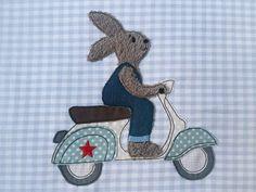 Stickmuster - Stickdatei Hase fährt Roller 10x10 Doodle Hasen - ein Designerstück von Stickherz bei DaWanda
