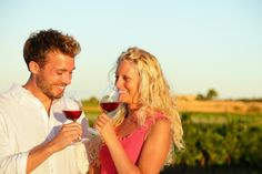Photo about Drinking red wine couple in love. Happy people drinking rose wine alcohol laughing in summer vineyard. Image of glasses, beautiful, laughing - 43976999 Images Of Glasses, Love Images, Couples In Love, Happy People, Hotels And Resorts, Red Wine, Dog Lovers, Vineyard