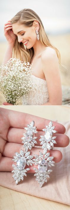 Make a statement on your big day! These HUGE cz chandelier earrings will take your look to the next level...