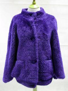 Womens 1980s Vintage Purple Faux Fur Coat Size 20-24