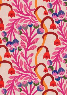 - floral monika forsberg illustration floral monika forsberg illustration floral monika forsberg i - Art And Illustration, Flower Illustration Pattern, Boho Pattern, Pattern Art, Red Pattern, Pattern Drawing, Pattern Painting, Flower Pattern Design, Colour Pattern