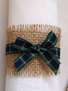 Christmas Napkin Rings, Christmas Napkins, Plaid Christmas, Scottish Wedding Themes, Scottish Decor, Gold Christmas Decorations, Christmas Table Settings, Wedding Decorations, Tartan Wedding