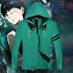 Anime Tokyo Ghoul Kaneki Ken Long Sleeves Green Cotton Hoodies Cosplay Costume #Affiliate