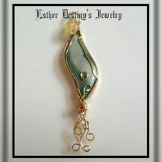 Gary Green Gold Filled Wird Wrapped Pendant by Esther Destiny's Jewelry