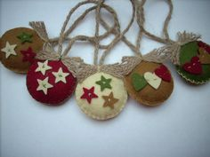 Felted Christmas ornaments Country colors Set of 5 Sand Burgundy Sage classic