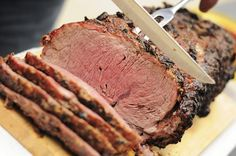 This prime rib roast is cooked by the traditional method of roasting on high and then finishing at a lower temperature for a perfect medium rare.