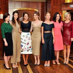 "More from the actresses of Velvet. I love their style. Honestly I like each of their outfits, EXCEPT the tan in the very middle. It's a bit too low cut for me. I especially love the black top and white skirt near he middle as well. I don't really wear many two piece outfits like the black one shown toward the center. ---  ""Girl power @cindyfigueroa_official #chicasvelvet @ursulamascaro"""