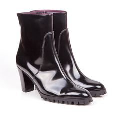 Rinaldi mid block heel vegan ankle boot in black faux patent leather with a non leather synthetic lining 100% Vegan, vegetarian and cruelty-free. #vegan #shoes #ethical #fashion www.beyondskin.co.uk