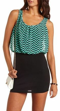 Charlotte Russe Chevron 2-Fer Body-Con Dress on shopstyle.com $13.49