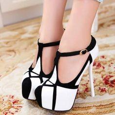 Black and white stilettos