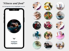 Fitness Instagram, 30 Fitness and food covers, fitness highlights, fitness social media, fitness blogger, workout icons